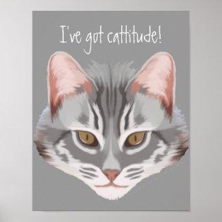 Impresión de Cattitude (con el texto) Póster
