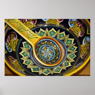 Impresión de cerámica italiana del cuenco póster