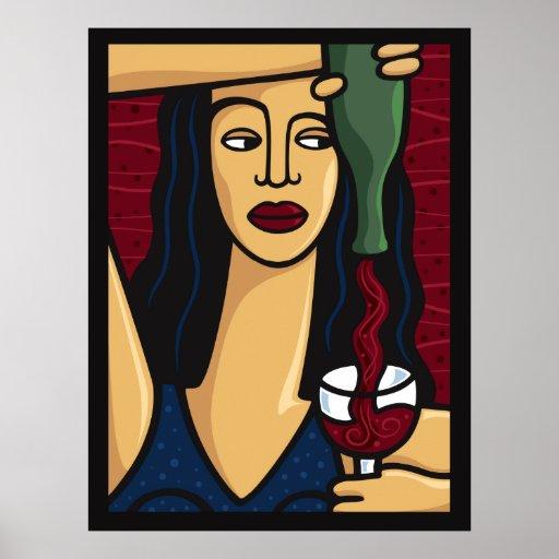 IMPRESIÓN de colada del vino de la mujer Póster