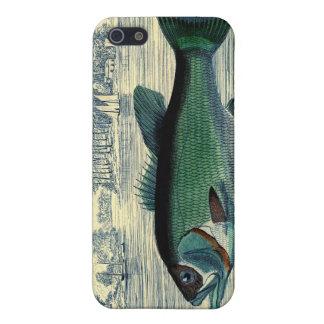 Impresión de color salmón antigua de la pesca de l iPhone 5 fundas