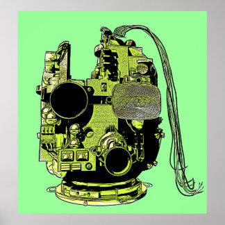 Impresión de colores retra de la cabeza abstracta  póster