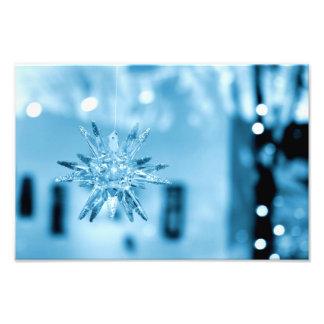 Impresión de cristal azul de la foto del ornamento