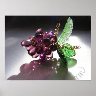 Impresión de cristal de las uvas póster