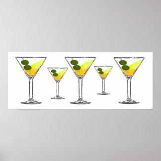 Impresión de cristal de Martini del cóctel Posters
