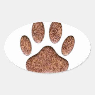Impresión de cuero de la pata del perro de la pegatina ovalada