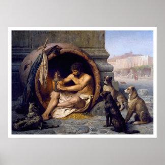 Impresión de Diógenes y del poster de los perros p
