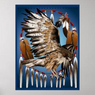 Impresión de Dreamcatcher del halcón del vuelo Póster