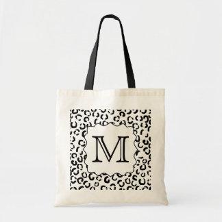 Impresión de encargo blanco y negro del leopardo d bolsa tela barata