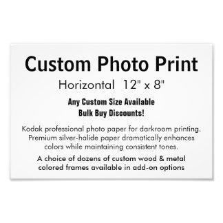 "Impresión de encargo de la foto - 12"" horizontal x cojinete"