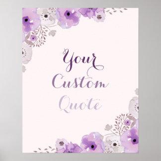 Impresión de encargo personalizada floral púrpura póster