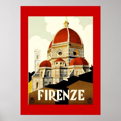 Impresión de Firenze Italia del viaje del vintage Impresiones