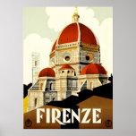 Impresión de Firenze Italia del viaje del vintage Póster