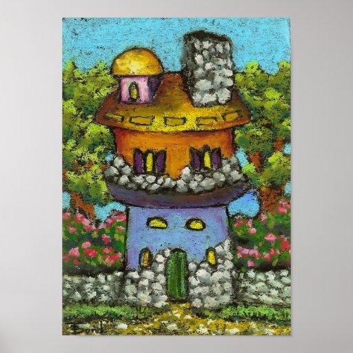 Impresión de hadas colorida de la casa póster