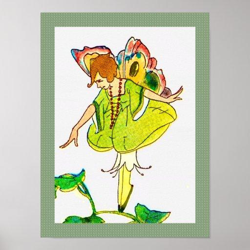 Impresión de hadas de la mariposa colorida del Vic Poster