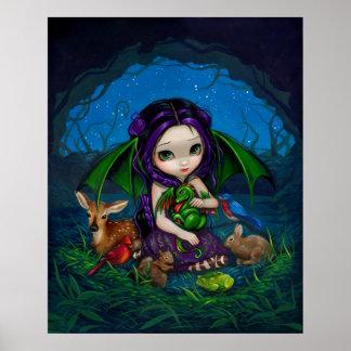 Impresión de hadas del arte del dragón de la fanta póster