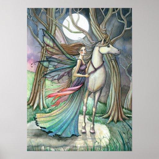 Impresión de hadas del poster del unicornio por Mo