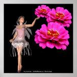 Impresión de hadas y rosada del poster de la flor