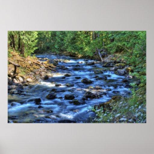 Impresión de HDR del río 3 de Cispus Poster
