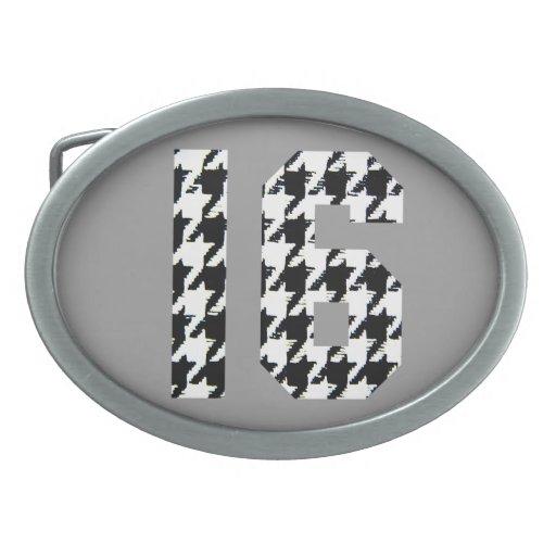 Impresión de Houndstooth del dulce dieciséis Hebillas De Cinturón Ovales