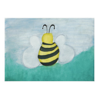 Impresión de la abeja de la acuarela póster