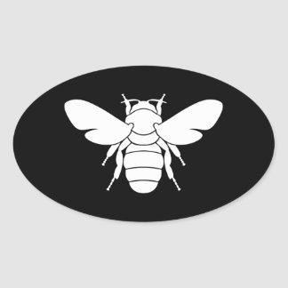 Impresión de la abeja pegatina ovalada