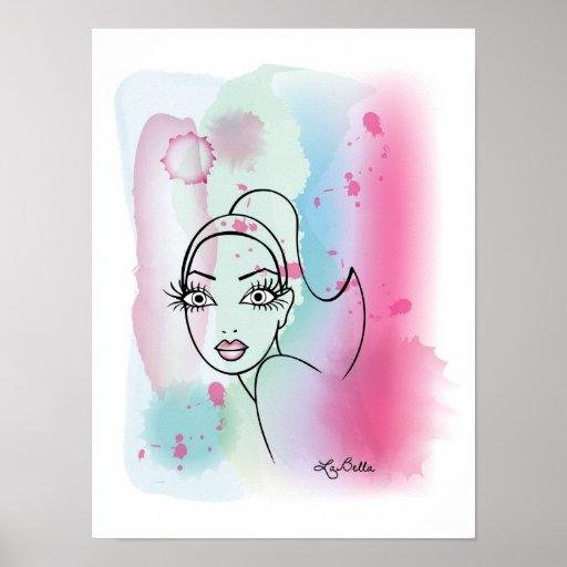 Impresión de la acuarela de AquaBella - señora Posters
