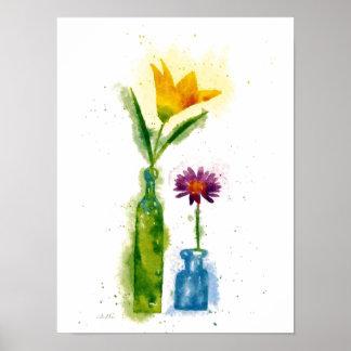 impresión de la acuarela de la flor poster