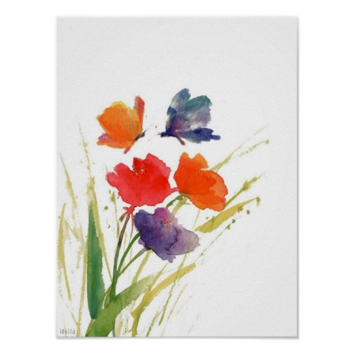 impresión de la acuarela de la flor póster