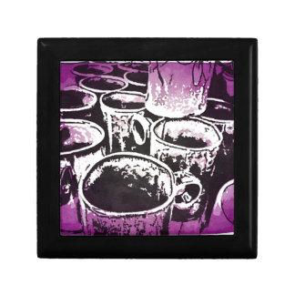 Impresión de la acuarela de las tazas de café del  cajas de joyas