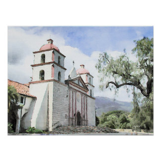 Impresión de la acuarela de Santa Barbara de la mi Posters