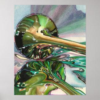 Impresión de la acuarela del brillo del jazz póster