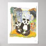 Impresión de la acuarela del oso de panda en lona impresiones