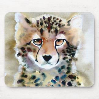 """Impresión de la acuarela del """"pequeño guepardo"""" mouse pad"""