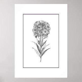 Impresión de la aguafuerte de la flor de pared del