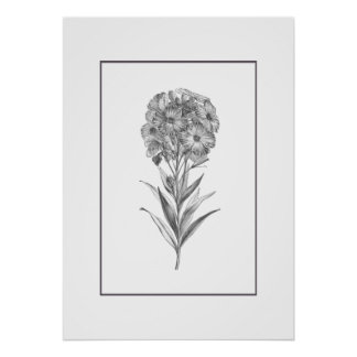 Impresión de la aguafuerte de la flor de pared del póster