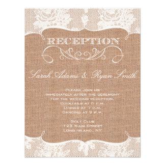 Impresión de la arpillera y invitación rústicas de