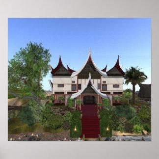 Impresión de la arquitectura de Minangkabau del cu Poster