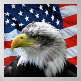 Impresión de la bandera americana de Eagle calvo Póster