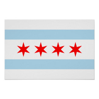 Impresión de la bandera de Chicago Póster