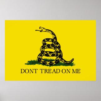 Impresión de la bandera de Gadsden (no pise en mí) Póster