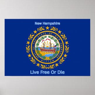 Impresión de la bandera de New Hampshire Póster