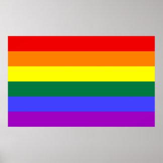 Impresión de la bandera del arco iris póster