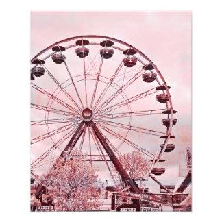 Impresión de la bella arte de la noria del rosa de arte fotográfico