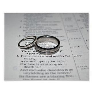 Impresión de la bella arte de los anillos de bodas cojinete