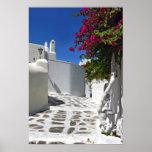 Impresión de la bella arte del callejón de Mykonos Poster