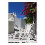 Impresión de la bella arte del callejón de Mykonos Póster