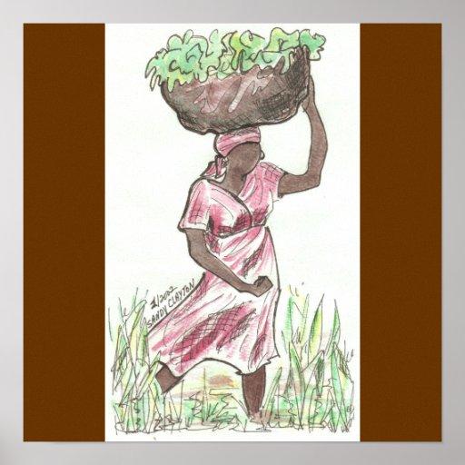 Impresión de la bella arte en lona/mujer haitiana posters