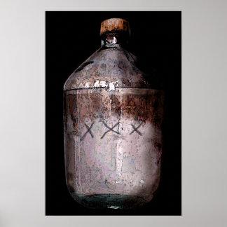 Impresión de la botella del alcohol ilegal poster