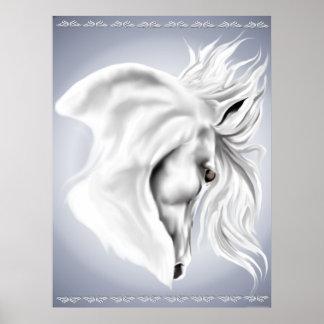Impresión de la cabeza de caballo blanco poster