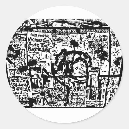 impresión de la caja del almuerzo del tributo del pegatina redonda